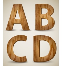 Grunge Wooden Alphabet Letters A B C D vector image