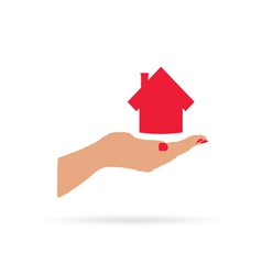house in hand vector image vector image