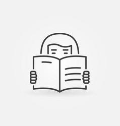 woman reading a book vector image vector image