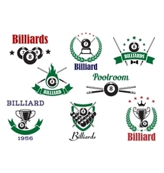Billiards sports heraldic icons and elements vector image vector image