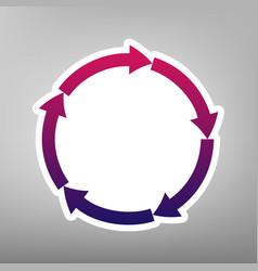 circular arrows sign purple gradient icon vector image vector image