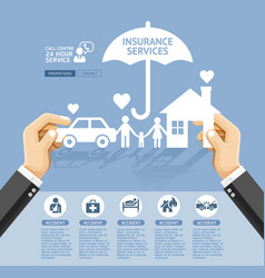 insurance policy services conceptual design hand vector image vector image