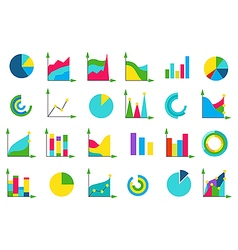 Isolated charts icons set vector image