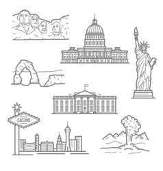 National landmarks of USA icons in thin line style vector image