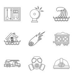natural disaster icons set outline style vector image