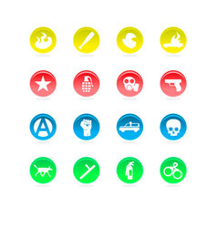 riot color icons isolated on white vector image