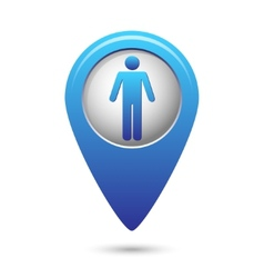 Blue map pointer with standing human icon vector image vector image