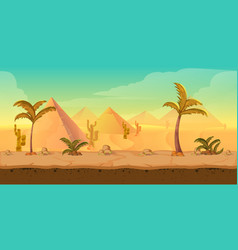 cartoon nature sand desert landscape with palms vector image