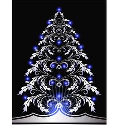 christmas silver furtree vector image vector image