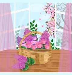 flowers basket vector image