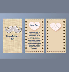 happy fathers day greeting card postcard in vector image