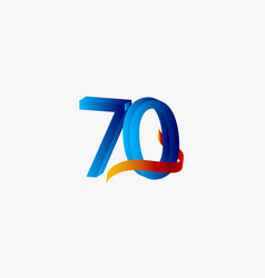 70 years anniversary celebration number blue vector