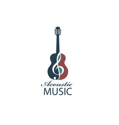 Acoustic guitar emblem vector