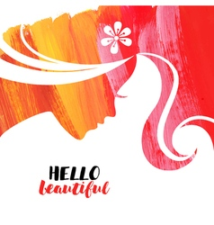 Acrylic beautiful girl of woman beauty salon vector
