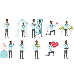 African-american groom set vector