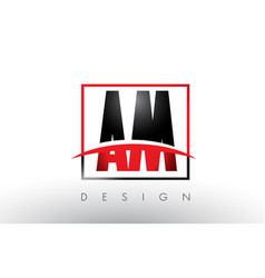 Am a m logo letters with red and black colors vector