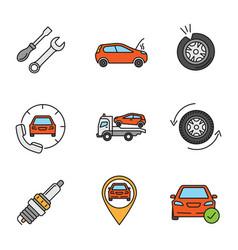 Auto workshop color icons set vector