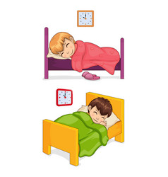 Bed time for little children in cozy beds set vector
