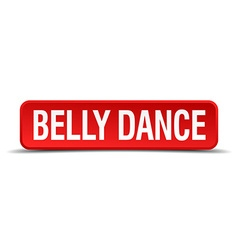 Belly dance red three-dimensional square button vector