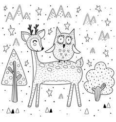 best friends coloring page with funny deer and owl vector image