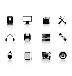 black computer equipment icon vector image