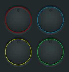 Black round knob buttons and colored backlight vector