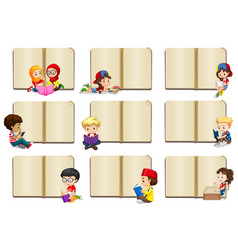 blank book templates with kids vector image