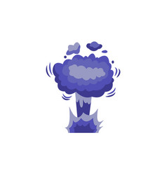 Bomb explosion blowing up clouds cartoon flat vector