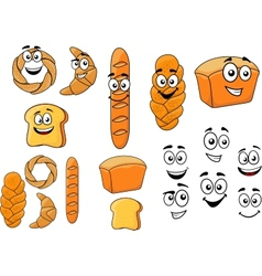 Cartoon breads with happy smiling faces vector