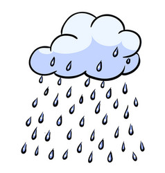 cartoon image of rain icon cloud rain symbol vector image