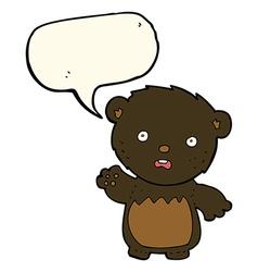 cartoon worried black bear with speech bubble vector image