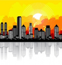 city and sunrise vector image