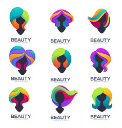 Collection of woman head silhouettes with trandy vector