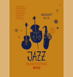 Colorful jazz poster with guitar saxophone and vector