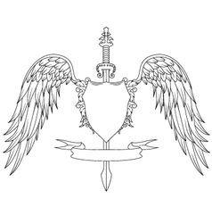 Composition with swords wings badge and ribbon vector image
