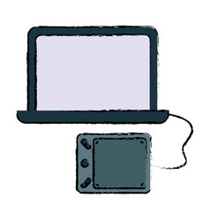 computer with graphic tablet icon vector image