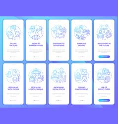 Consumerism gradient blue onboarding mobile app vector