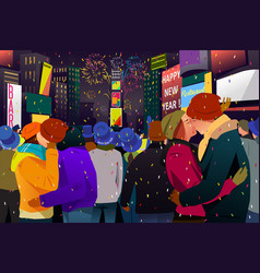 couples kissing during new year celebration vector image