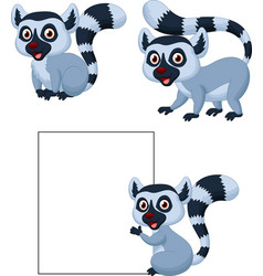 cute lemur cartoon collection set vector image