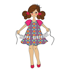Cute little girl wishing you happy birthday vector