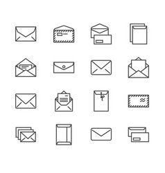 envelopes flat line icons mail message open vector image