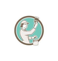 Female House Painter Paintbrush Circle Retro vector