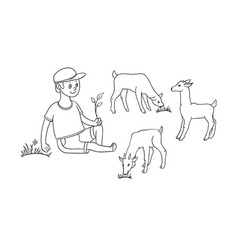 Flat boy sitting at pasture grazing goats vector
