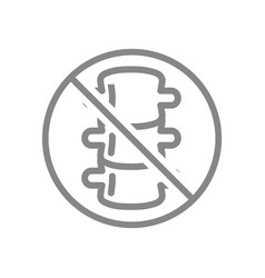 Forbidden sign with a spine line icon amputation vector