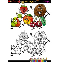fruits group cartoon coloring page vector image