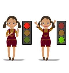 girl explain pedestrian traffic light green red vector image