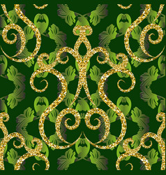 gold glittery vintage 3d seamless pattern dark vector image