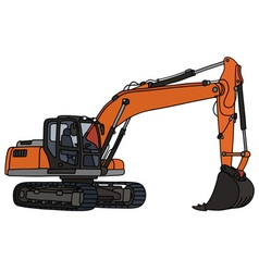 Gray and orange excavator vector
