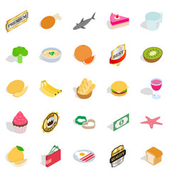 grocery shop icons set isometric style vector image