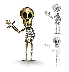 Halloween isolated spooky skeletons set vector